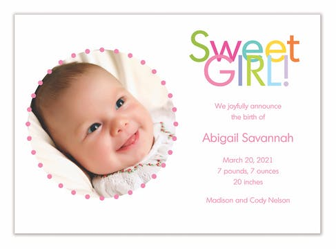 Sweet Girl! Girl Photo Birth Announcement