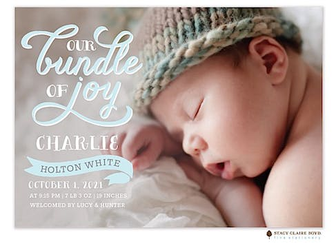 Scripted With Love Photo Birth Announcement