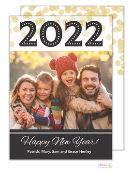 New Year Confetti Holiday Photo Card
