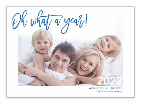 Blue Terrazo What a Year! Holiday Photo Card