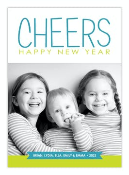 Cheers to the New Year Holiday Flat Photo Card