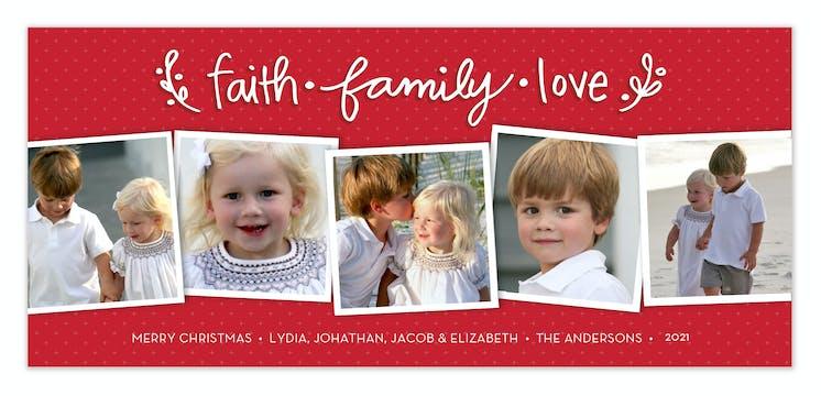 Faith, Family & Love Flat Photo Card