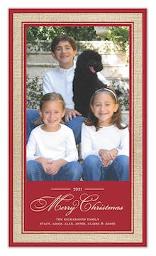 Vintage Wrap - Burlap Border - Red Holiday Flat Photo Card