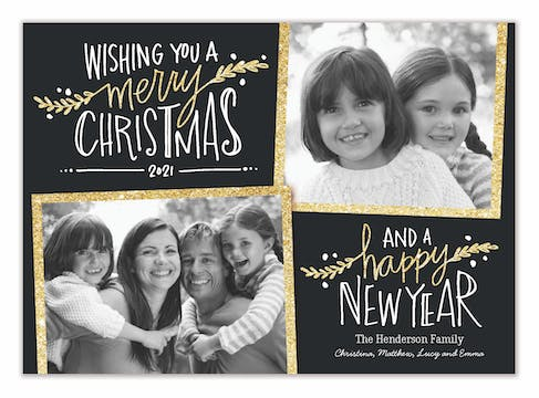 Glitter Wishes Holiday Flat Photo Card