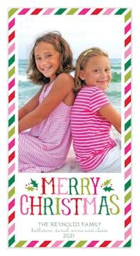 Candy Stripe Holiday Print & Apply Flat Photo Card