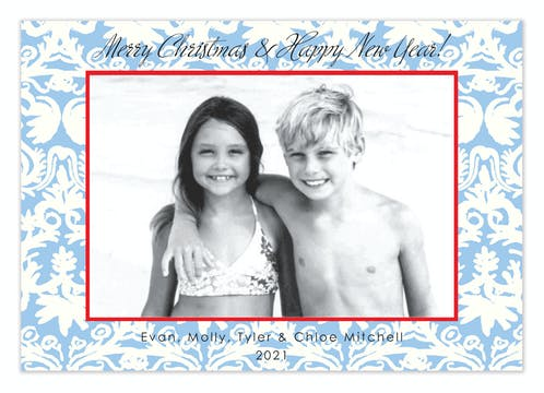 Cool Chiffon Holiday Flat Photo Card