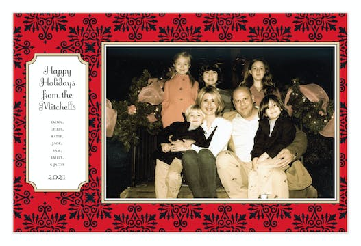 Dazzle Red Holiday Flat Photo Card