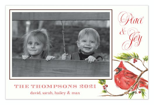 Cardinal Holiday Flat Photo Card
