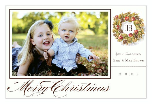 Woodland Wreath Holiday Flat Photo Card