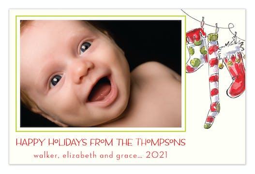 Jolly Socks Flat Photo Holiday Flat Photo Card