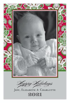 Couture Glitz Holiday Flat Photo Card