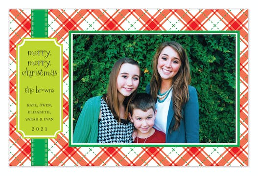 Jolly Plaid Holiday Flat Photo Card