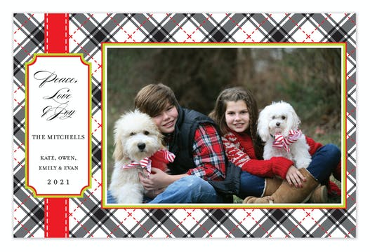 Classy Plaid Holiday Flat Photo Card