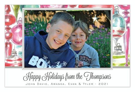 Ornament Array Holiday Flat Photo Card
