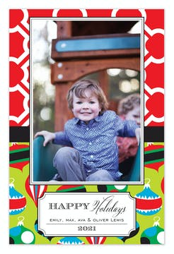 Ornament Shuffle Holiday Flat Photo Card
