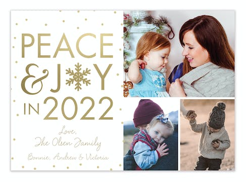 Peace and Joy in New Year (multi-photo) Holiday Photo Card