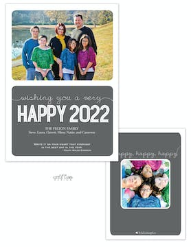 Mod Gray New Year Photo Card
