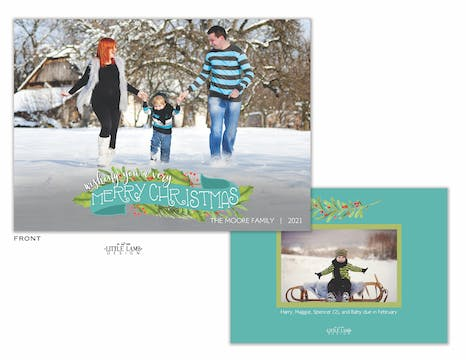 Merry Christmas Banner Holiday Flat Photo Card