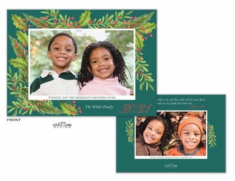 Boughs of Holly Holiday Photo Card