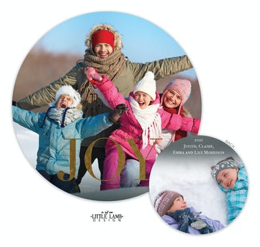 Joy Circle Foil Holiday Photo Card