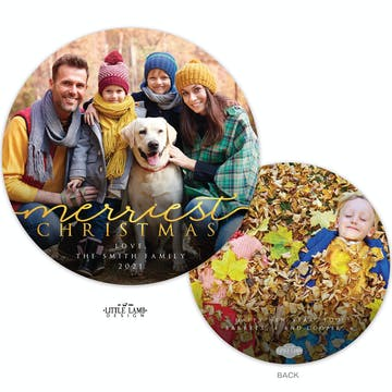 Merriest Christmas Round Holiday Photo Card