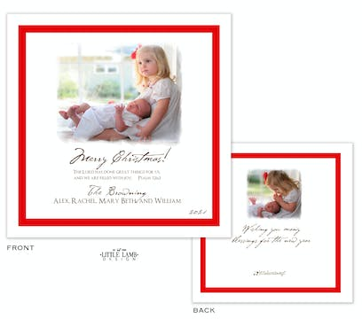 Red Border Holiday Square Flat Photo Card