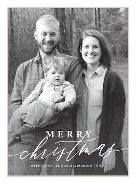 Merry Christmas Calligraphy Flat Holiday Photo Card