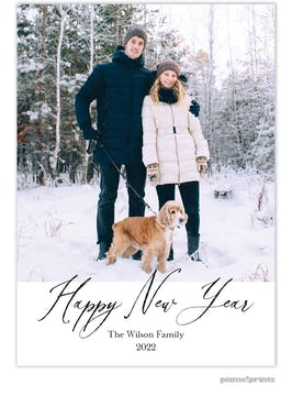 Contemporary New Year Holiday Photo Card
