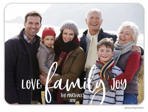 Love Family Joy Holiday Photo Card