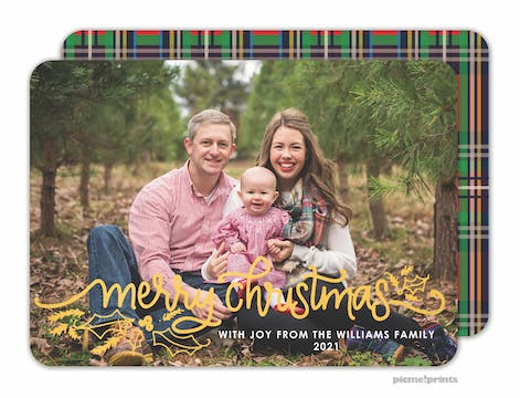 Christmas Plaid Foil Pressed Holiday Photo Card (Designed by Natalie Chang)