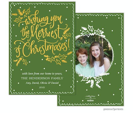 Wishing You the Merriest Foil Pressed Holiday Photo Card (Designed by Natalie Chang)