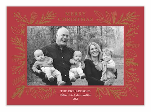 Foil Garland Border Red Flat Holiday Photo Card