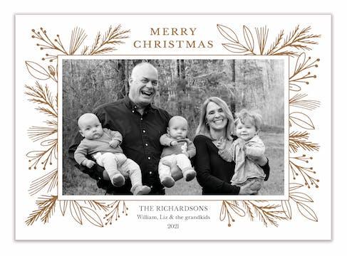 Foil Garland Border White Flat Holiday Photo Card