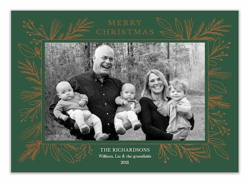 Foil Garland Border Green Flat Holiday Photo Card
