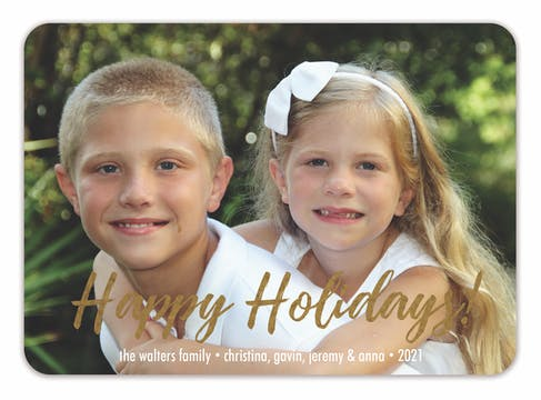 Foil Happy Holidays! Flat Holiday Photo Card