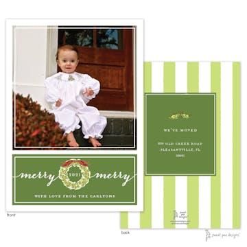 Wreath On Dark Green Flat Photo Holiday Card