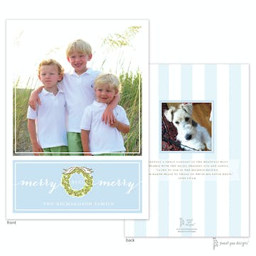 Wreath On Light Blue Flat Photo Holiday Card