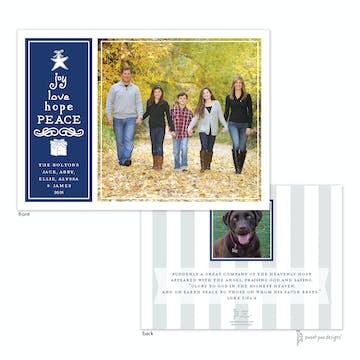 Joy, Love, Hope, Peace Navy Flat Photo Holiday Card