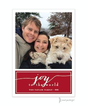Joy On Dark Red Flat Photo Holiday Card