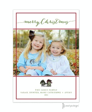 Simple White & Dark Red Border Flat Photo Holiday Card