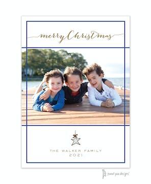 Simple White & Dark Blue Border Flat Photo Holiday Card