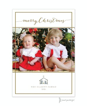 Simple White & Gold Border Flat Photo Holiday Card