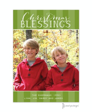 Classic Stripes Green Flat Photo Holiday Card
