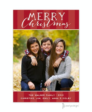 Classic Stripes Red Flat Photo Holiday Card