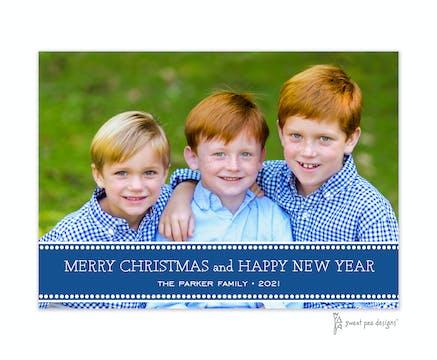 Dotted Band Dark Blue Flat Photo Holiday Card