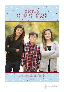 Fun Christmas Snow Vertical Holiday Flat Photo Card