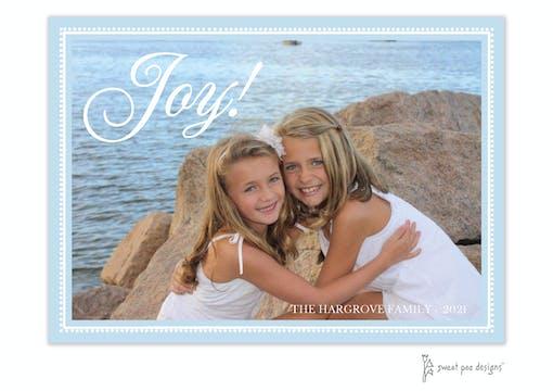 Joy On Beaded Border Light Blue Horizontal Holiday Flat Photo Card