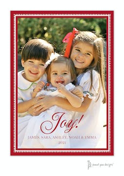 Joy On Beaded Border Red Vertical Holiday Flat Photo Card