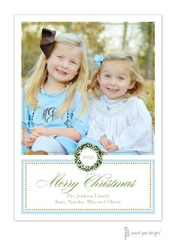 Classic Dot Border Blue And Gold Holiday Flat Photo Card
