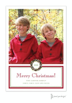 Classic Dot Border Red And Green Holiday Flat Photo Card